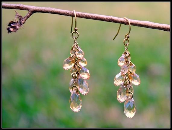 Swarovski Multi Briolette Golden Shadow Earrings-Selene Collection-Sterling Silver-Statement Earrings Wedding Bridal Jewelry Custom Earrings