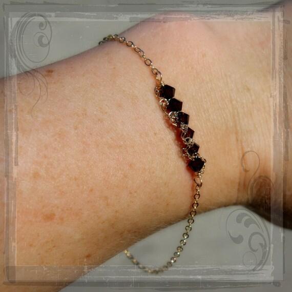 CHOOSE 1---Birthstone Bracelet-Sarah Collection Bracelet-Mother's Day Bracelet- 14k Gold Fill shown in Mocca