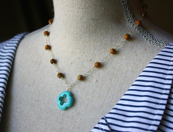 Turquoise Clover Gemstone Pendant with Petrified Wood and Chain Necklace by Courtney Lee Designs-Sterling Silver Handmade Jewelry