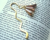Brass Squiggle Hook Bookmark  With Czech Glass Clearance