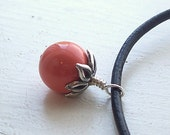 Black Leather Swarovski Pearl Sterling Silver Coral Berry Necklace