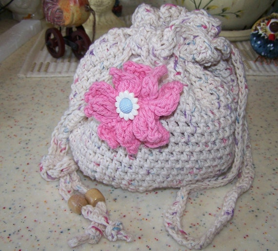 Crochet Small Bag : Tan Hand Crochet small drawstring bag free by BLACKDIAMONDBAGS