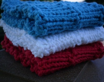 Red White and Blue Knitted Washcloths - Set of 3