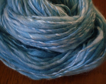 Summer Sky Blue Handspun Yarn - Merino and Tencel- 75 yards