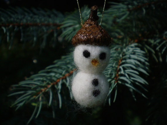 Felted Snowman with Acorn Hat Ornament - Christmas Winter Decor