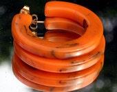Haute Couture Vintage BakeLite Marbled Earrings Orange Hoops Big Bold Statement Pumpkin Mod Art Deco Style Runway Hollywood Black Catalin