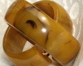 Bakelite Earrings Vintage Hoops Mississippi Mud Estate Jewelry Marbled Mid Century Modernist Art Deco Antique Wide Caramel Butterscotch Clip