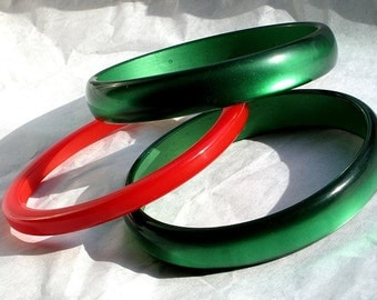 Haute Couture Red BakeLite Vintage Bangle Green Lucite Statement Moonglow Set Estate Jewelry Lot Mid Century Catalin Art Deco Cherry Jello