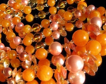 Haute Couture Vintage Necklace Antique Shimmer Orange Glow Lucite Mid Century Bakelite Era Signed JapaN Runway Mod Aurora Borealis Beads