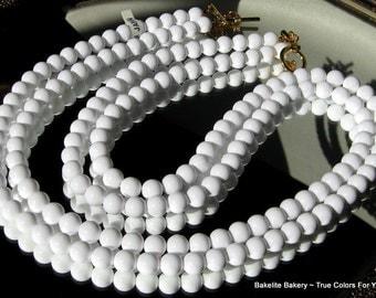 Bold Haute Couture White Vintage Necklace Wedding Bib Multi 2 Strand Hollywood Mod Designer Signed JapaN Long Mid Century Glossy Statement