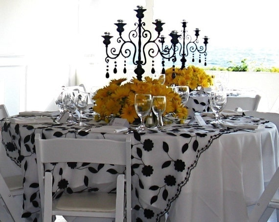 Wedding Table Runner in Black and White