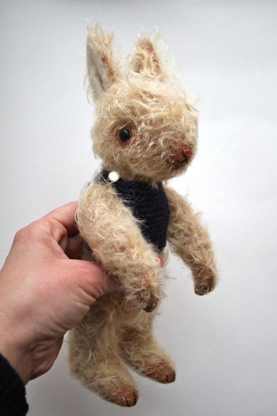 mohair rabbit with deep blue sweater