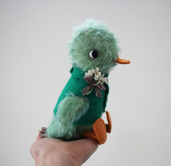 hand dyed green mohair duckling with jointed head
