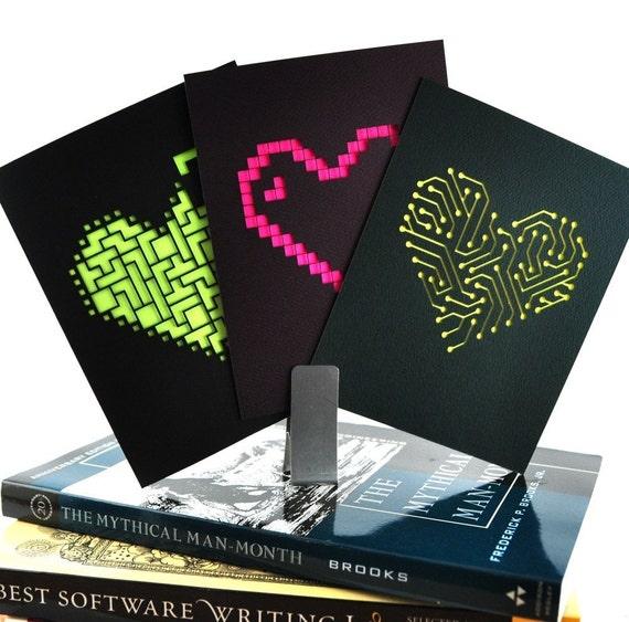 6 Neon Geek Heart Cards