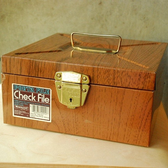Reserved --  Vintage Faux Bois Check File Organization Office