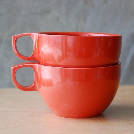 SALE Orange Red Melamine Teacups Melmac - Burnt Orange Set of 2 Melamine