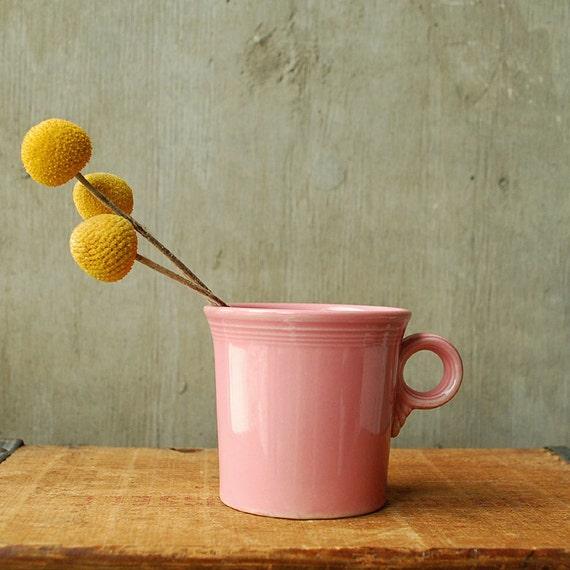 Vintage Sherbert Fiesta Mug - Rose Pink - Homer Laughlin, USA Art Deco