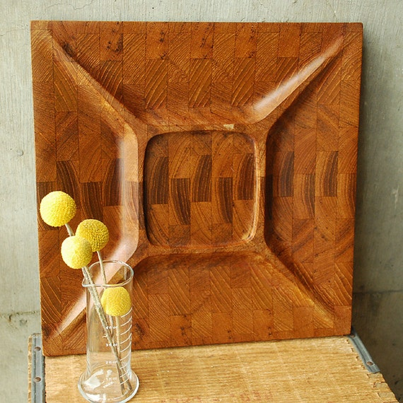 Vintage Digsmed End-grain Serving Platter - Eames Era - Mid Century