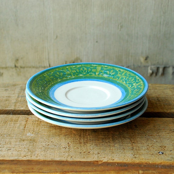 Sale Vintage Cavalier Ironstone Royal China Saucers in Blue and Green Paisley