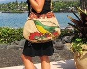READY TO SHIP. Burlap Hobo Handbag. Repurposed Kauai Coffee Bag with Akialoa Bird.  Handmade in Hawaii.