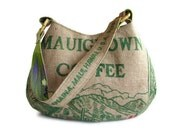 Reserved for Mari. Repurposed Burlap Coffee Bag. Mauigrown Hobo Handbag and Purse. Handmade in Hawaii. Made To Order.