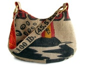 MTO. Coffee Beans and Volcano Burlap Hobo Shoulder Bag. Repurposed Hawaii Coffee Bag. Made in Hawaii.