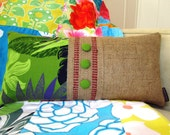 Ready To Ship. Upcycled Coffee Bag and Hawaiian Fabric. Burlap Pillow for  your Summer Lanai.  Handmade in Hawaii.