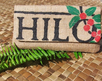 MTO. Custom. Hilo Burlap Envelope Clutch. Repurposed Hilo Coffee Mill Coffee Bag. Handmade in Hawaii.