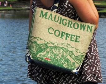 Burlap Handbag Tote, Custom and Eco Friendly Purse. Repurposed Mauigrown Coffee Bag. Handmade in Hawaii. Made to Order.