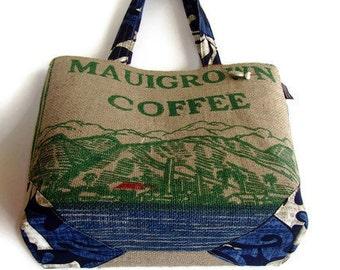 MTO. Custom. Mauigrown Coffee Bag Burlap Tote. Repurposed Coffee Bag Handbag. Handmade in Hawaii.