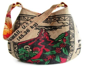 MTO. Custom. Kilauea Volcano Hobo Burlap Handbag. Repurposed UCC Hawaii USA Coffee Sack. Handmade in Hawaii.