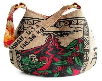 MTO. Custom. Kilauea Volcano Hobo Burlap Handbag. Repurposed UCC Hawaii USA Coffee Sack. Handmade in Hawaii.