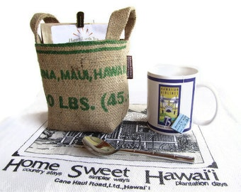 MTO. Custom. Maui Burlap Basket. Recycled Mauigrown Coffee Bag. Small. Eco-Friendly. Handmade in Hawaii.