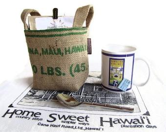 MTO. Custom. Maui Burlap Basket. Recycled Mauigrown Coffee Bag. Small. Eco-Friendly. Handmade in Hawaii.