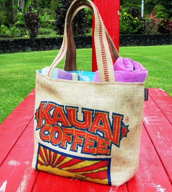 Kauai Repurposed Burlap Coffee Bag. Carryall and Tote - Handmade in Hawaii.