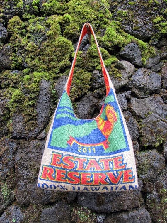 Burlap Hobo Handbag and Repurposed Kauai Coffee Bag. Handmade in Hawaii. MADE TO ORDER.