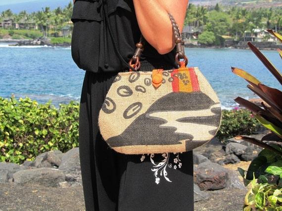 Ready To Ship. Alfred Shaheen Vintage Handprint - Tapa Tapestry. Lightweight Summer Satchel. Repurposed Burlap Coffee Bag Handbag.