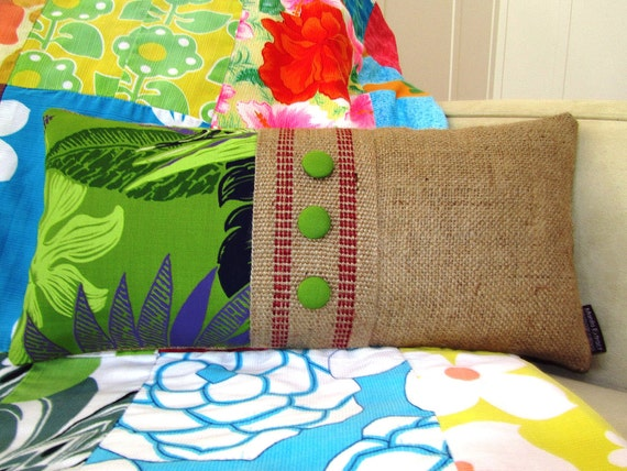 Ready To Ship. Upcycled Coffee Bag and Hawaiian Fabric. Burlap Pillow for  your Summer Lanai.  Handmade in Hawaii.