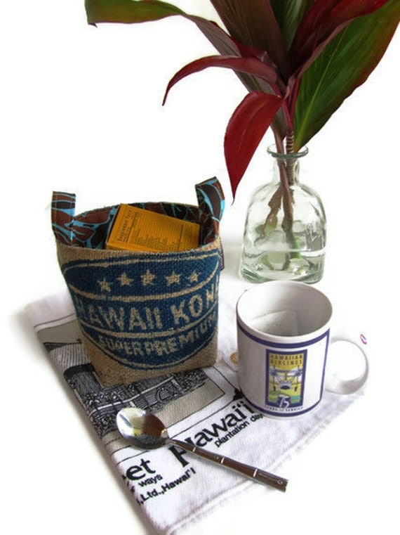 Reserved for John. Burlap Baskets.  Eco Friendly. Recycled Coffee Bag. Handmade in Hawaii.