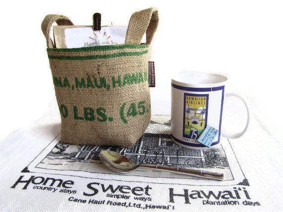 MTO. Recycled Coffee Bag. Lahaina Maui Burlap Basket - S.  Eco Friendly. Handmade in Hawaii.