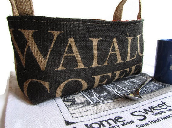 Ready To Ship. Waialua Burlap Basket - XL.  Eco Friendly Storage Organizer. Recycled Coffee Bag. Handmade in Hawaii.