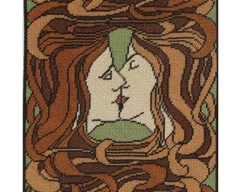 The Kiss - Instant Download - Cross Stitch Pattern PDF