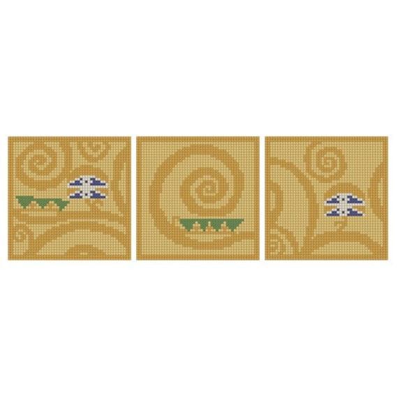 Klimt Swirl Triptych - PDF Cross Stitch Pattern