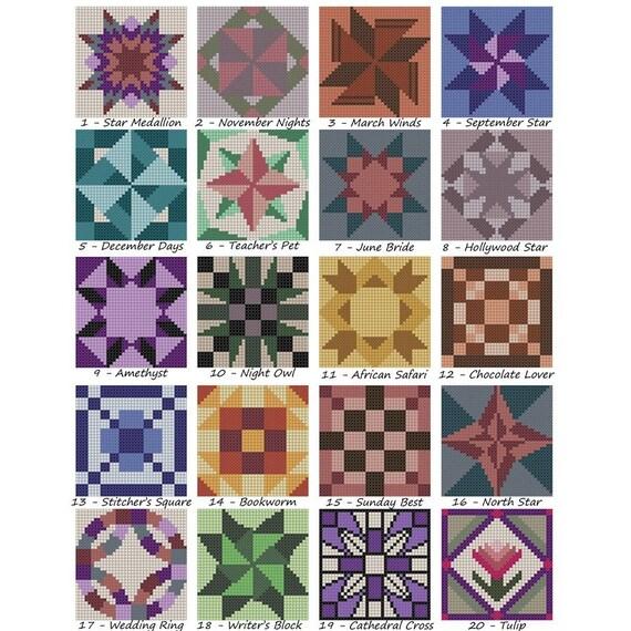 Cross Stitch Quilt Patterns : Mini-Quilt Triptych PDF Cross Stitch Pattern