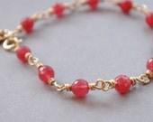 Gorgeous Original Design- Cherry Quartz Bracelet - Elephant Lover - July Birthstone - Gold Elephant Charm - Ruby Jewelry