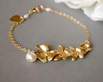 Gold Flower Bracelet, Gorgeous Original Design Flower Jewelry, Orchid Bracelet, Bridal Jewelry, Gift Idea For Bridesmaids, Flower Girl Gifts