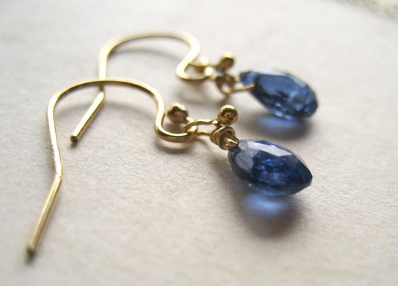 Blue Kyanite Earrings - Tiny Earrings - Birthstone Jewelry - Blue Earrings - Dainty Jewelry - Gold Earrings - Gemstone Earrings - Blue Stone