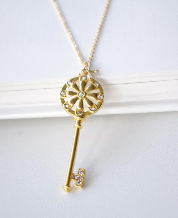 Key Necklace - Spring Fashion Jewelry - Gold Key - Skeleton Key - Key with Swarovski Crystals - OOAK - SALE