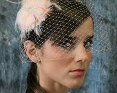Blush Pink Birdcage Veil Set with Crystals and Feather Flower Fascinator - Persephone