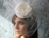 "Bridal Hat Tulle Veil with Peony Flower - Wedding Hat Veil - Bridal Hat with Pouf Veil ""Jewel"""